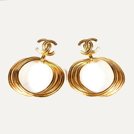 Large Gold-tone Circle Earrings with CC