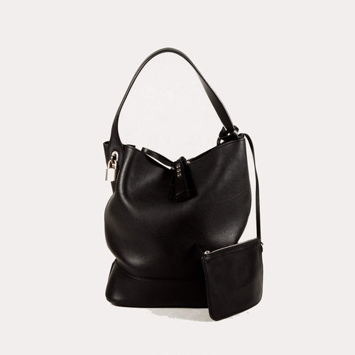 Idole Black Canvas Bucket Bag