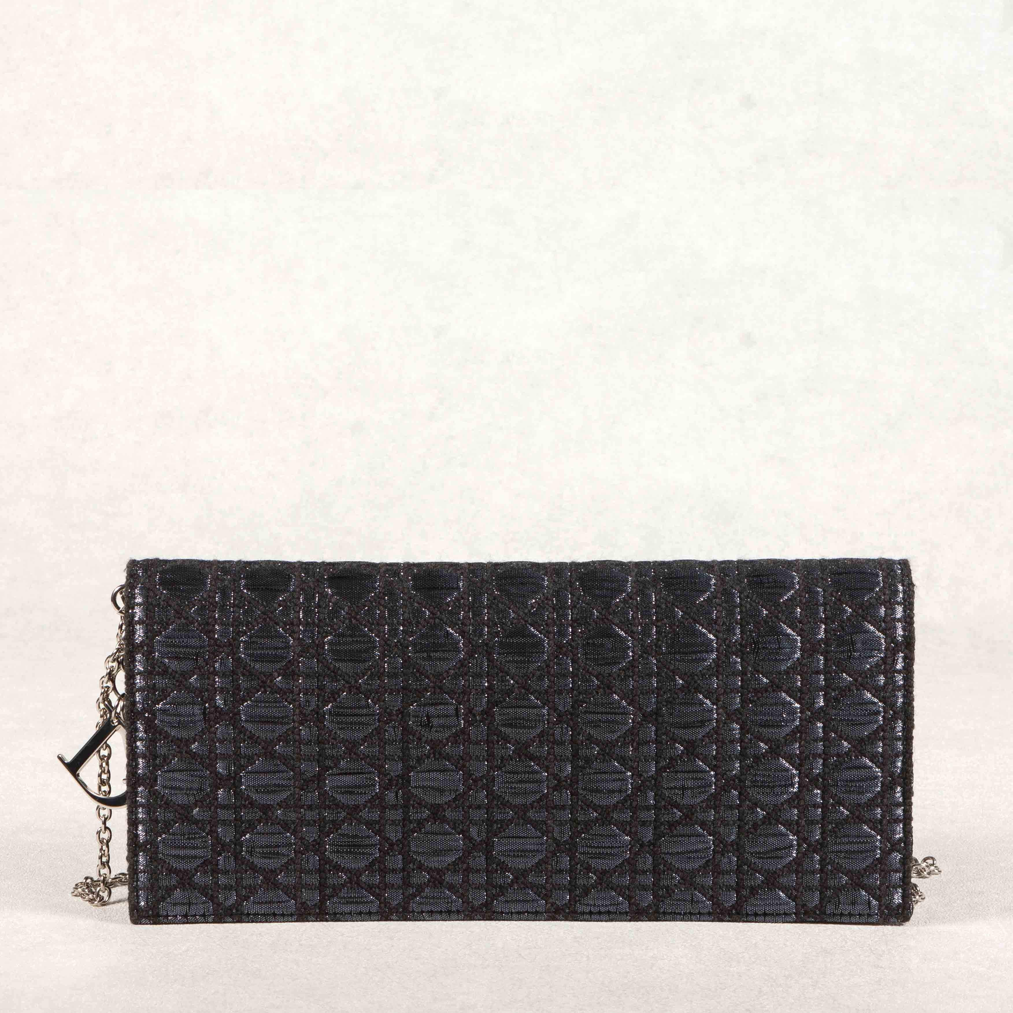 Dior Tweed and Metallic Cannage Stitched Fabric Clutch