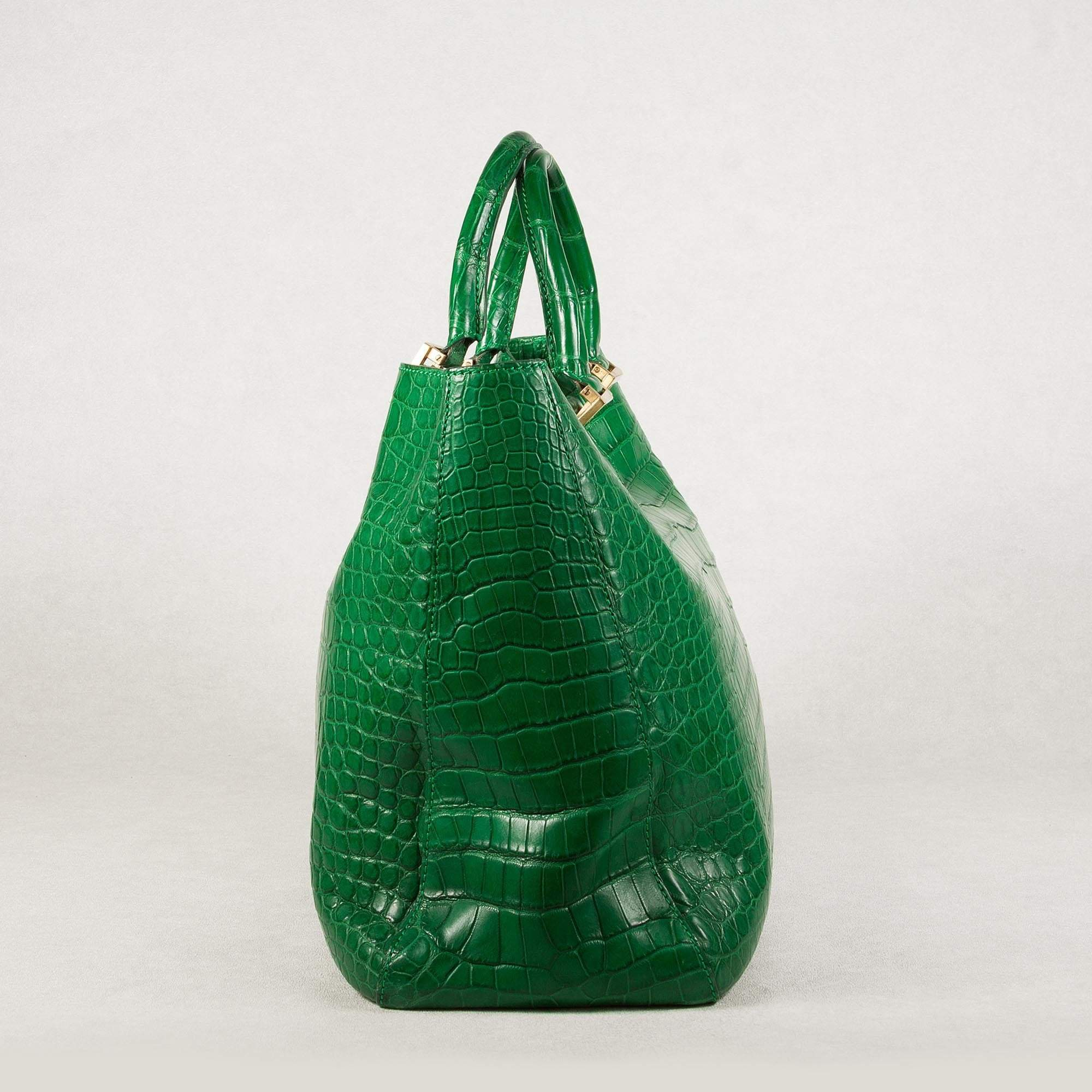 Fendi Green Crocodile Tote Bag