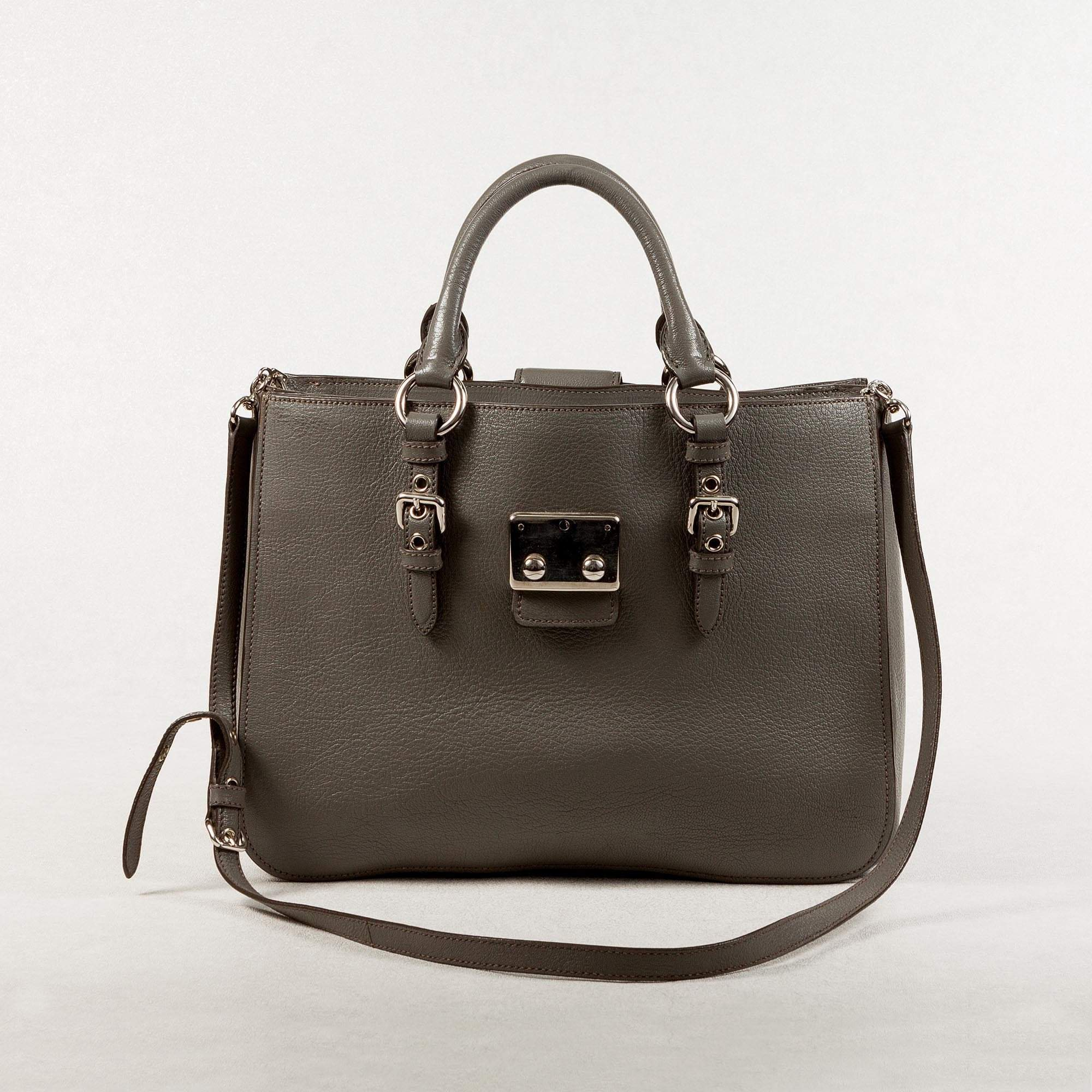 Miu Miu Gray Leather Hand Bag