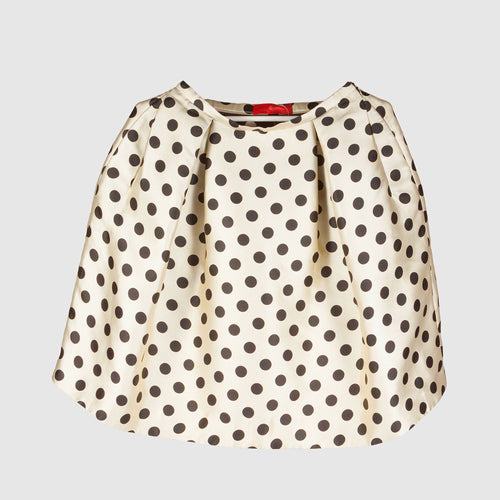 Carolina Herrera Ivory and Black Polka Dot Skirt