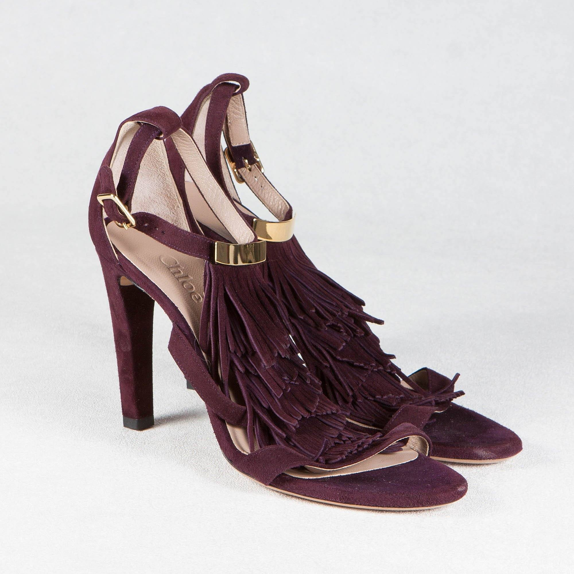 Chloe Purple Suede Fringed Sandals