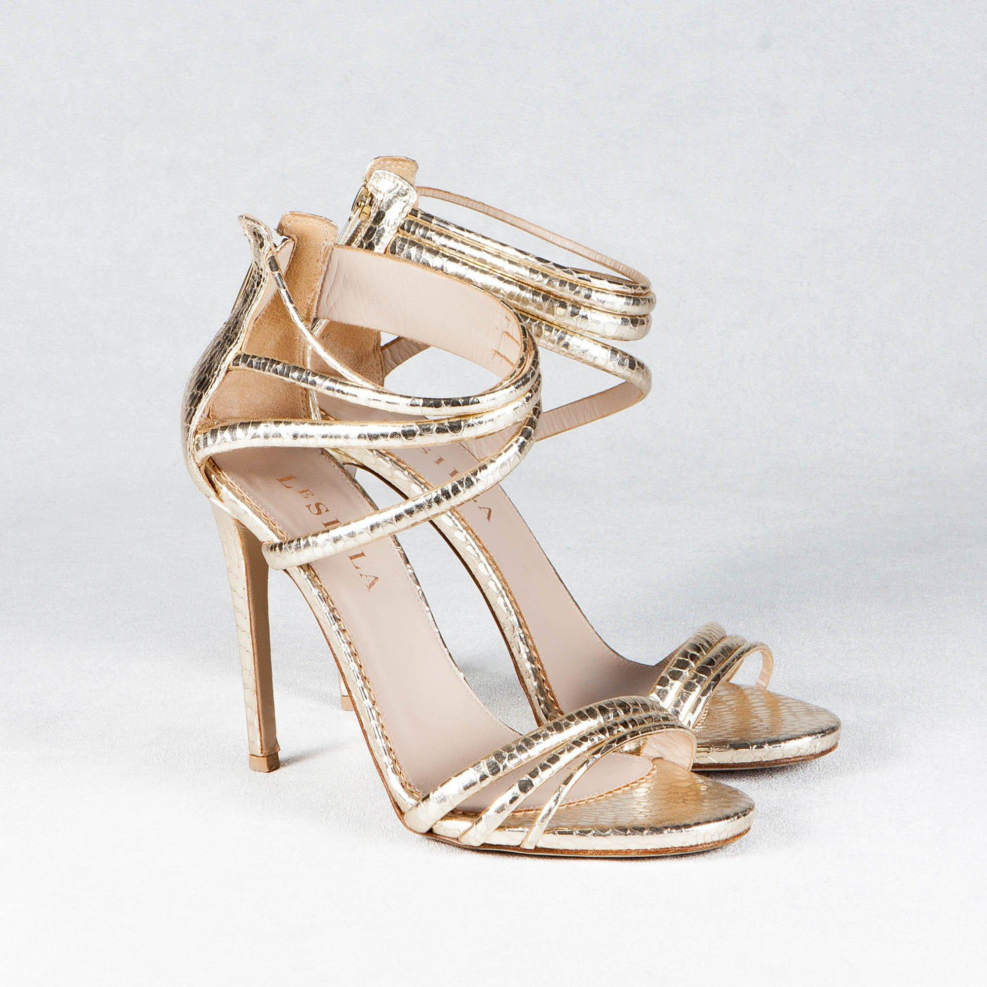 Le Silla Light Gold Python Embossed Strappy Sandals