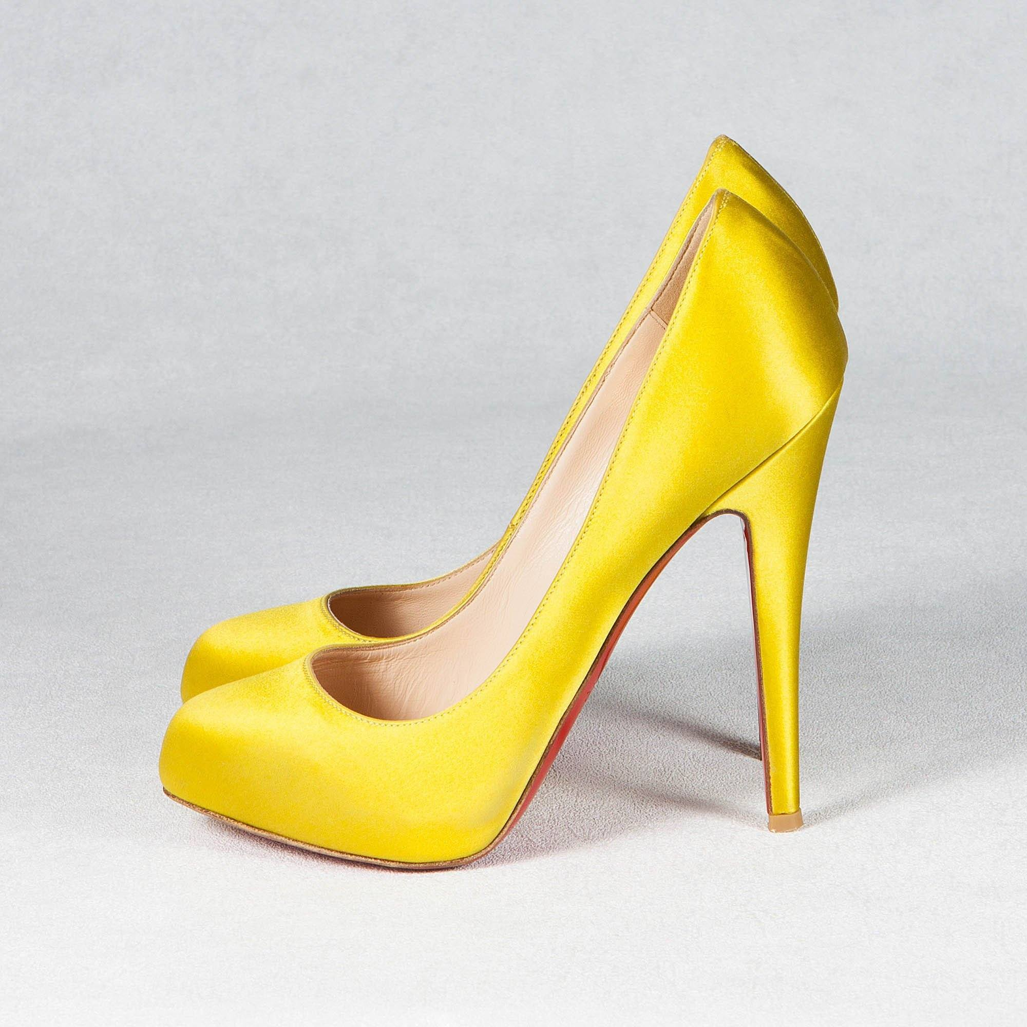 Christian Louboutin Mustard Satin Pumps