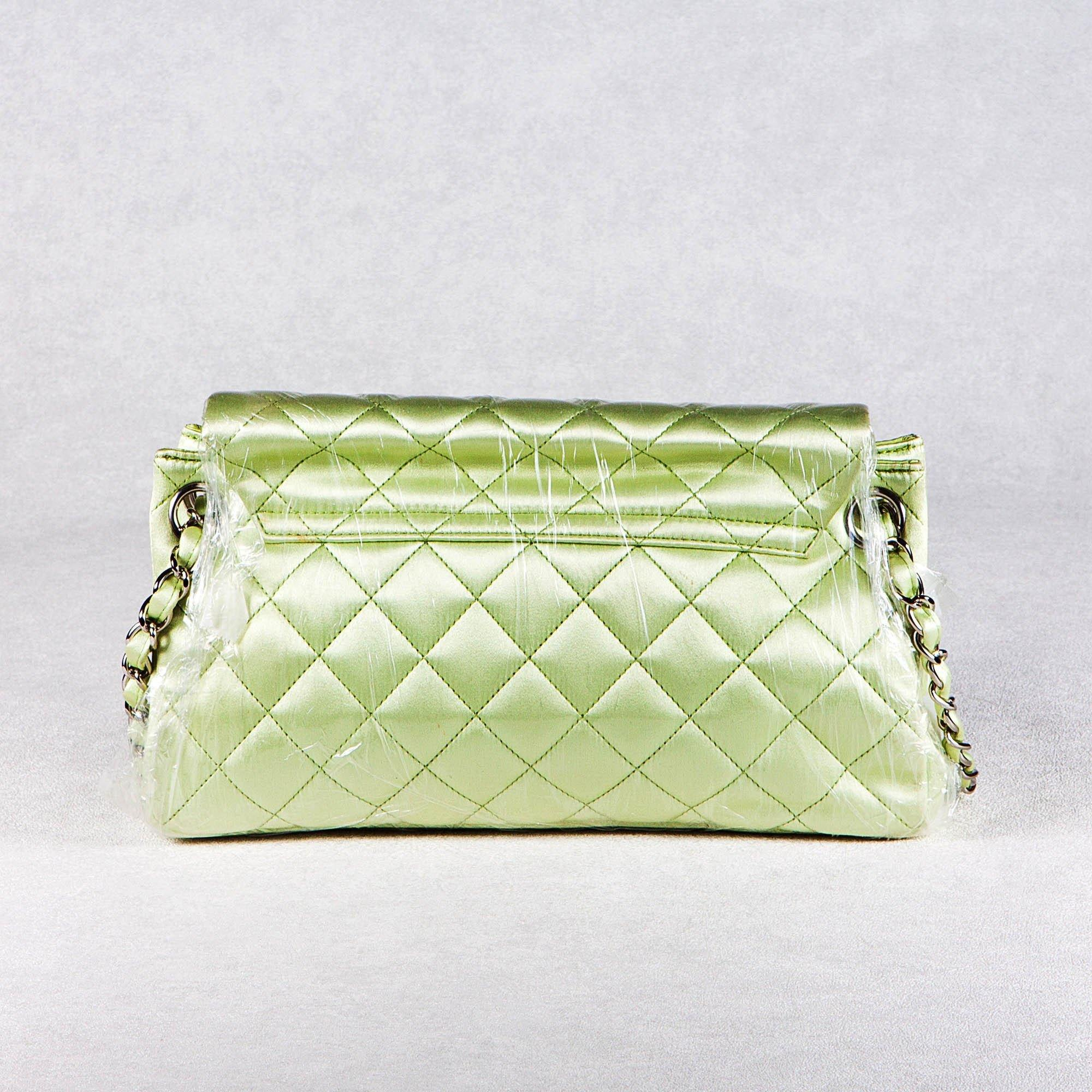 Chanel Satin Quilted Medium Flap Mint Green