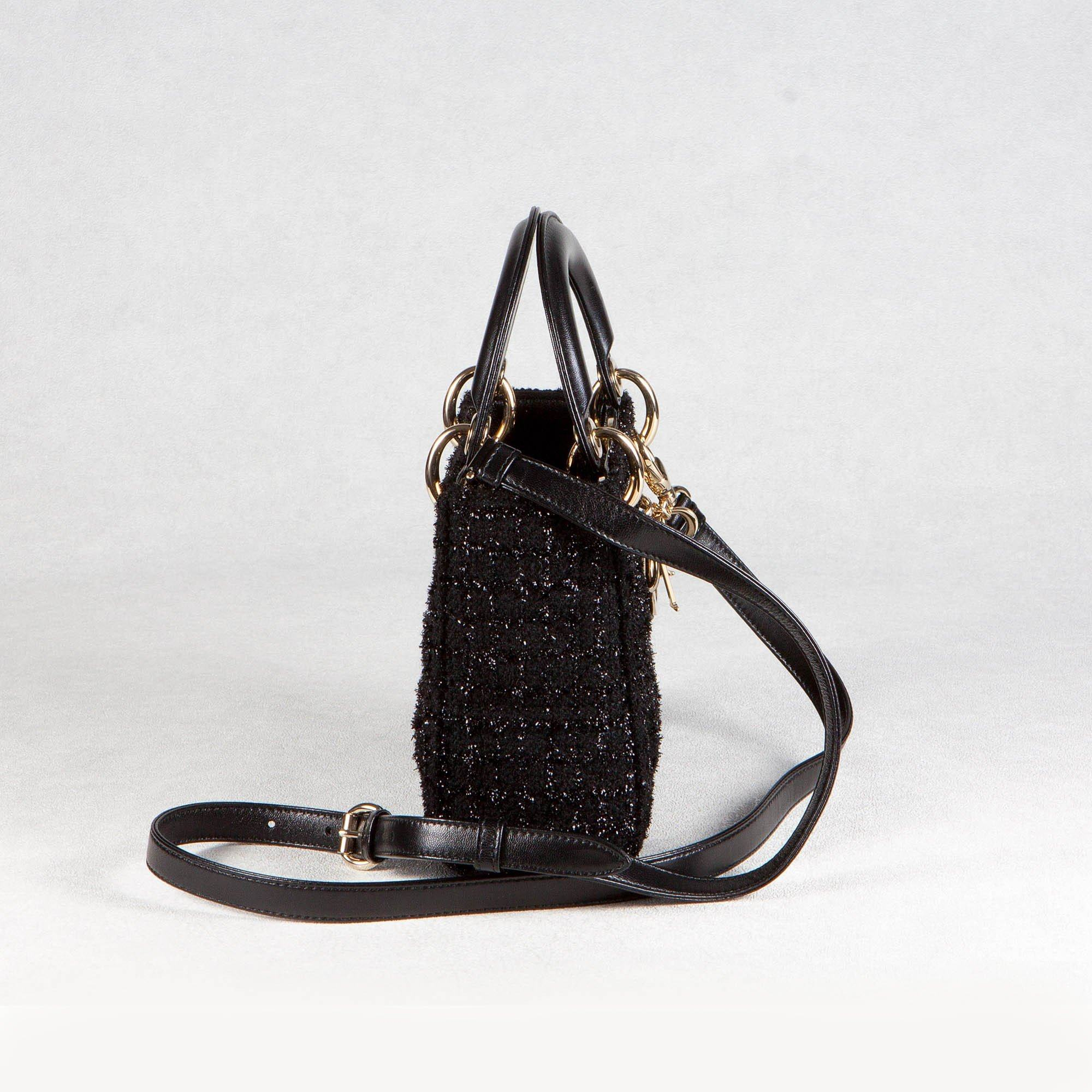 "Christian Dior Black Mini ""Lady Dior"" Bag in Tweed"
