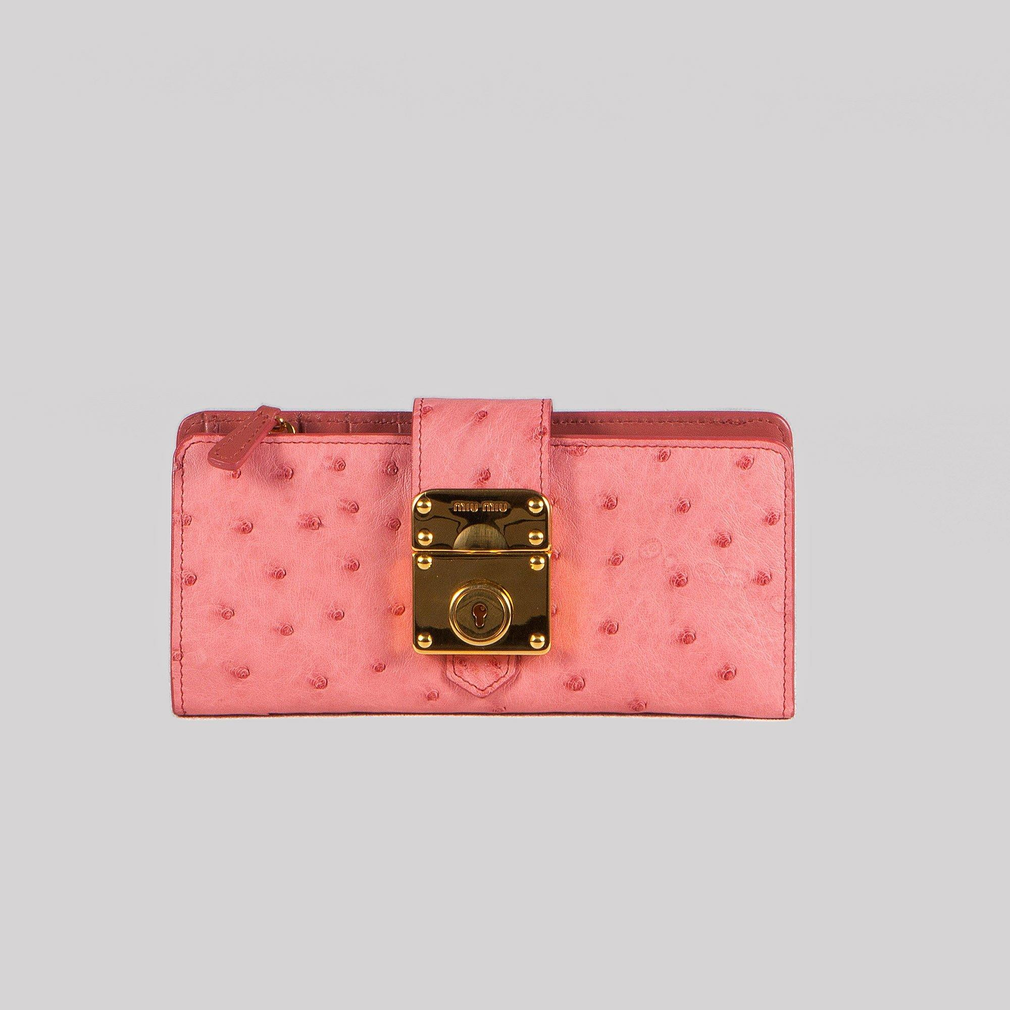 Miu Miu Ostrich Long Wallet
