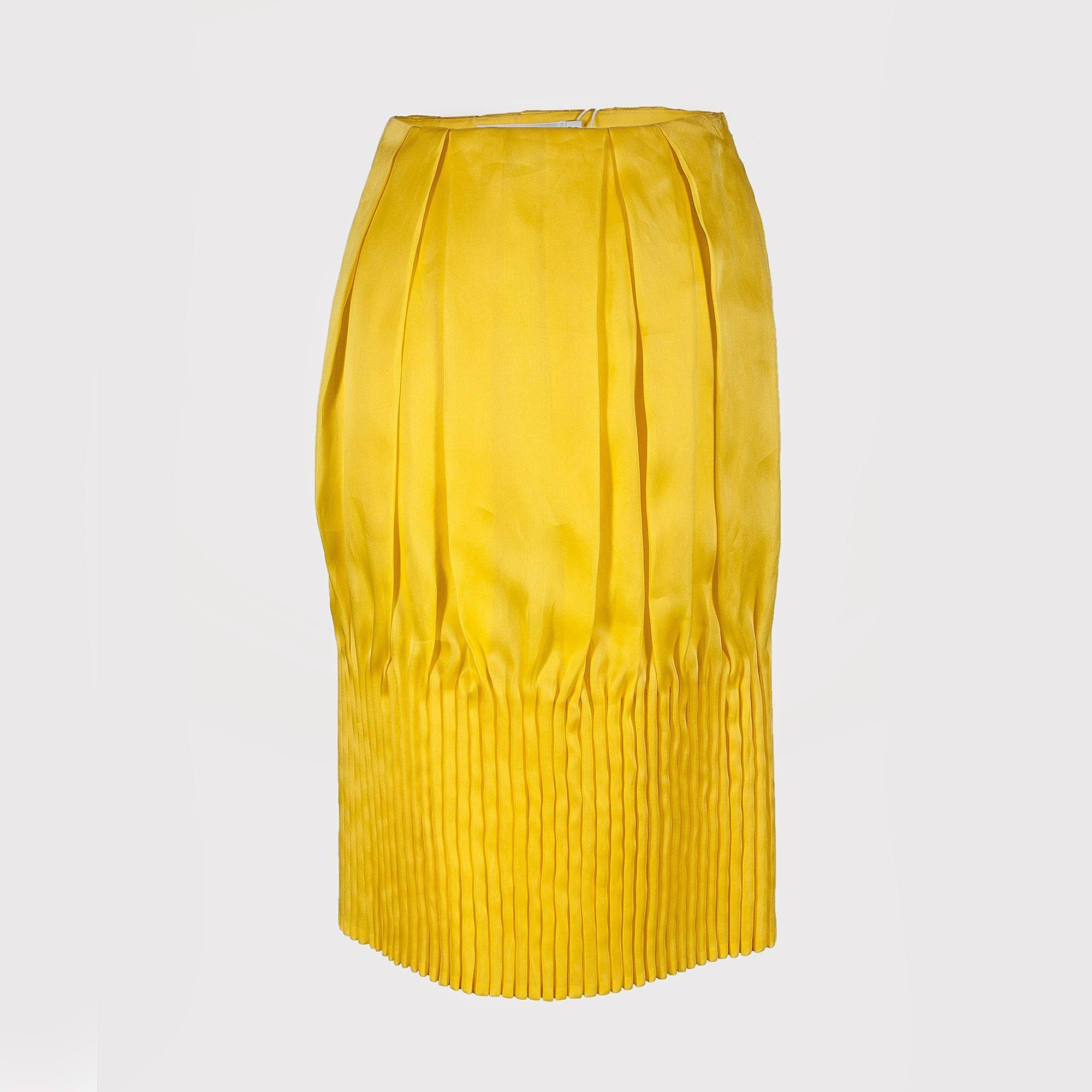 Christian Dior Yellow Pencil Silk Skirt