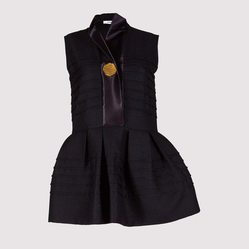 Celine Long Black Pleated Top