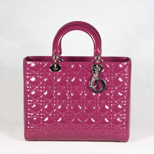 Christian Dior Purple Cannage Patent Leather Lady Dior Tote Bag