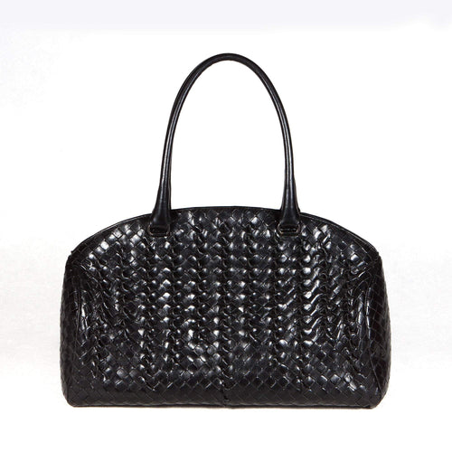 Bottega Veneta Interecciato Black Hand Bag