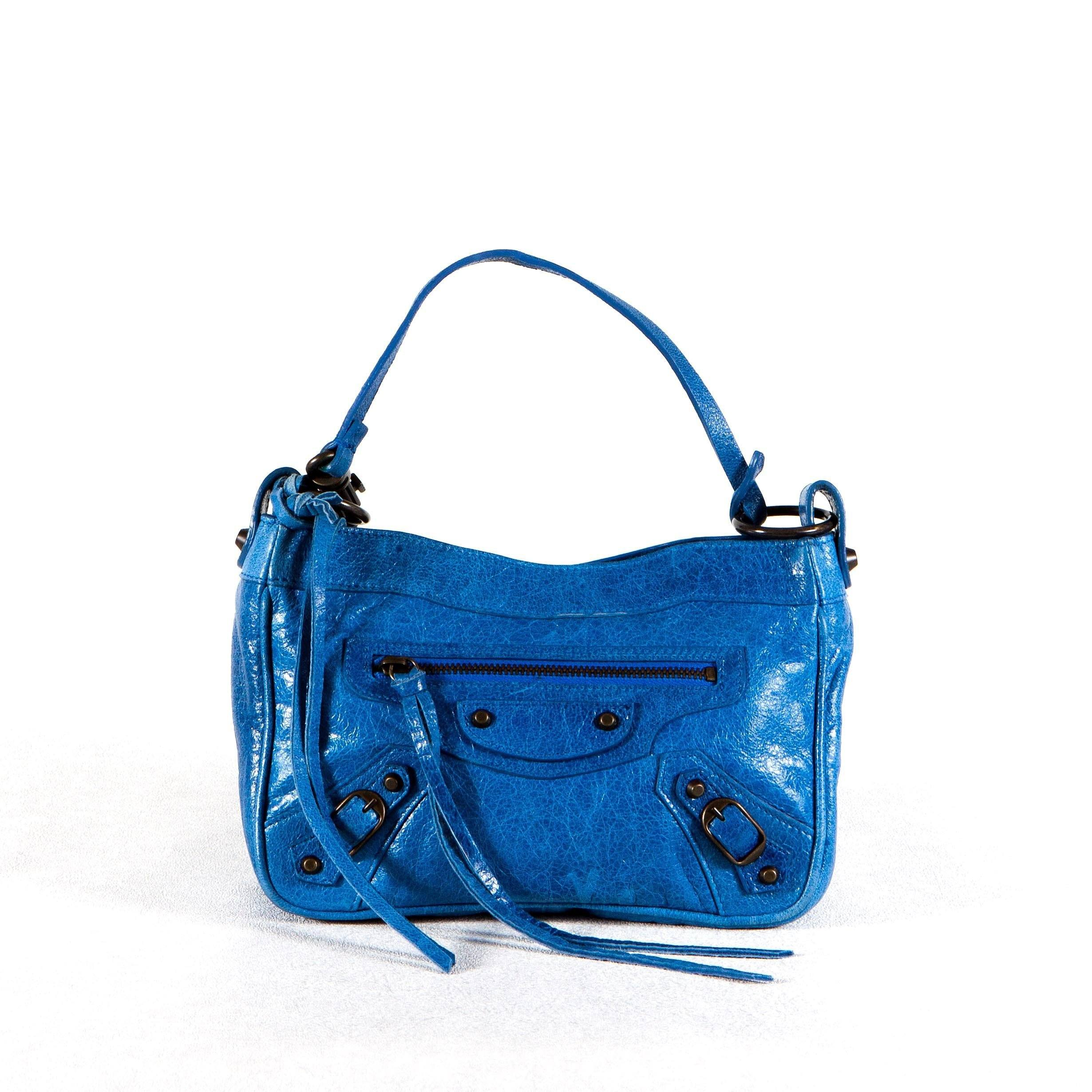 Balenciaga Leather Small Blue Bag
