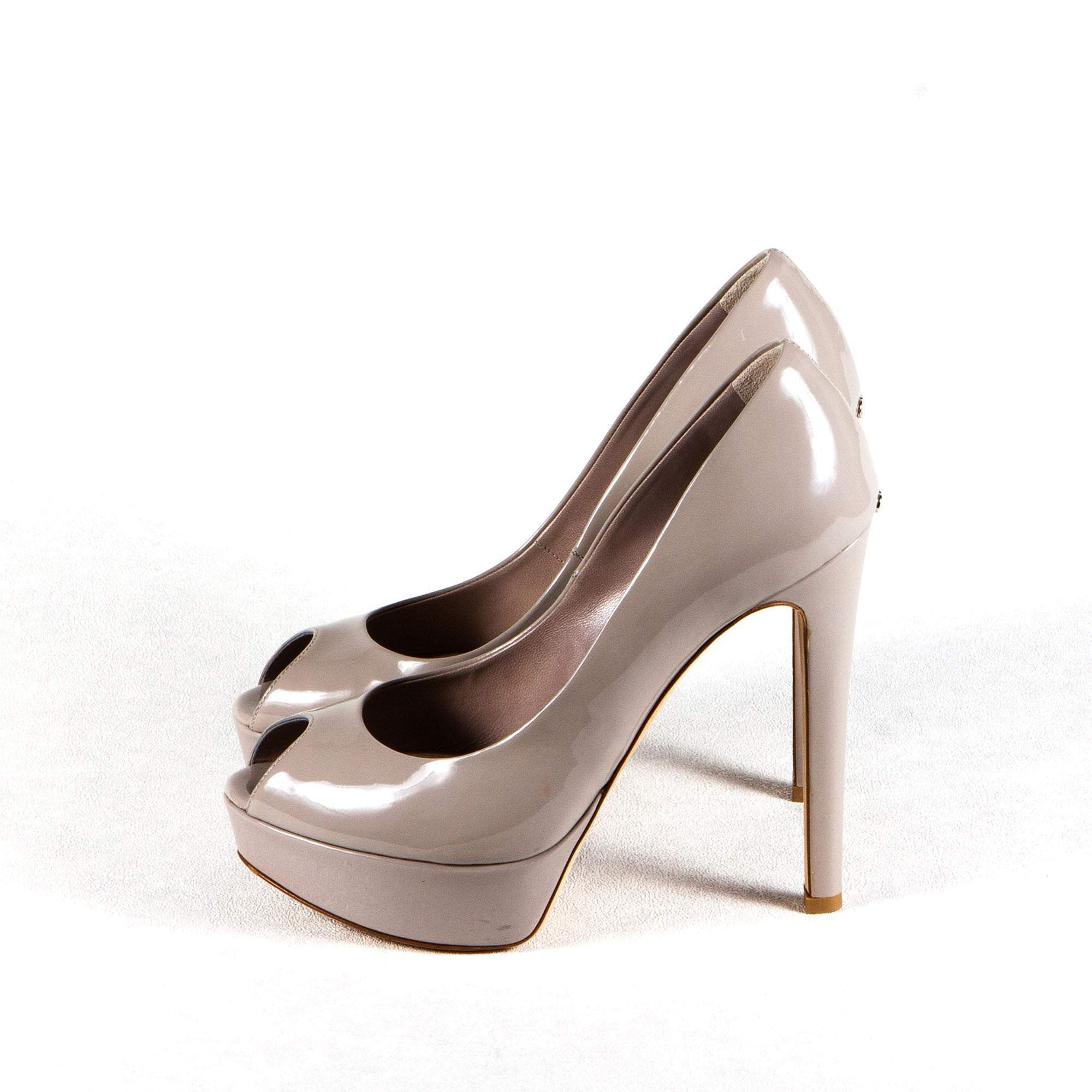 Christian Dior Patent Leather Peep Toe Platform Pumps