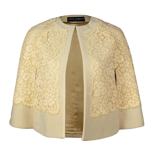 Dolce & Gabbana Yellow Lace Cape