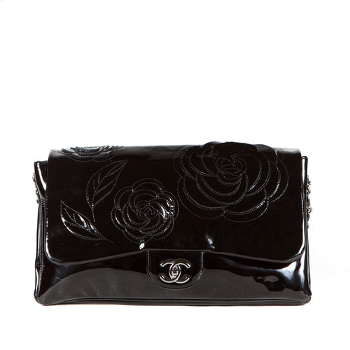 Chanel Patent Leather Tweed Camellia Petals Flap Black
