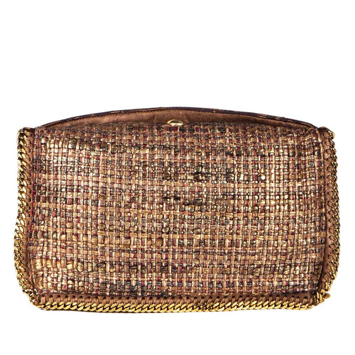 "Stella Mccartney Metallic Gold And Brown Tweed ""Boucle Falabella"" Foldover Clutch Bag"