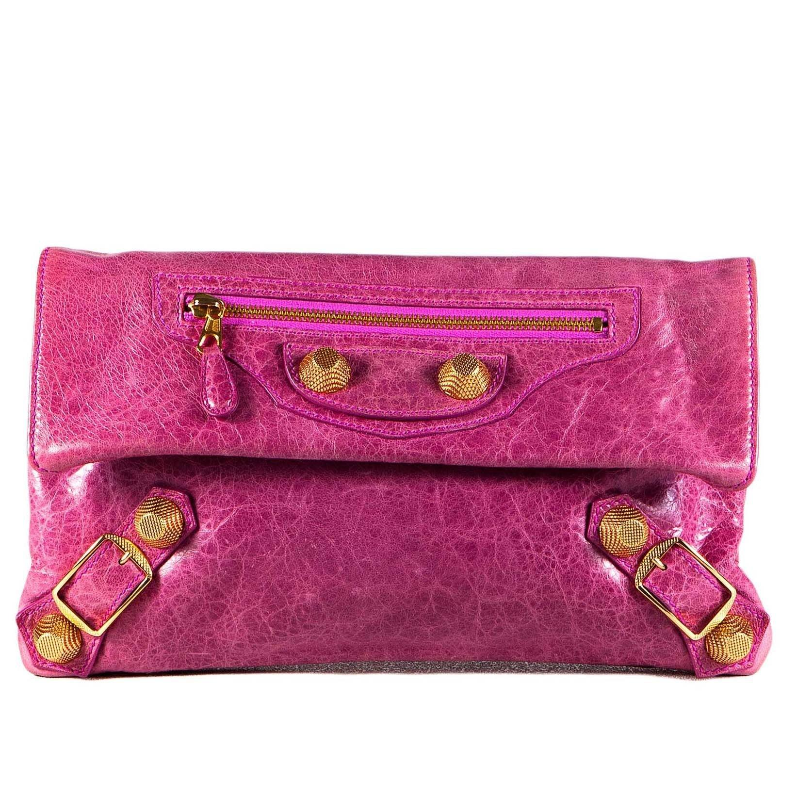 Balenciaga Pink Leather Gold hardware Envelope Clutch