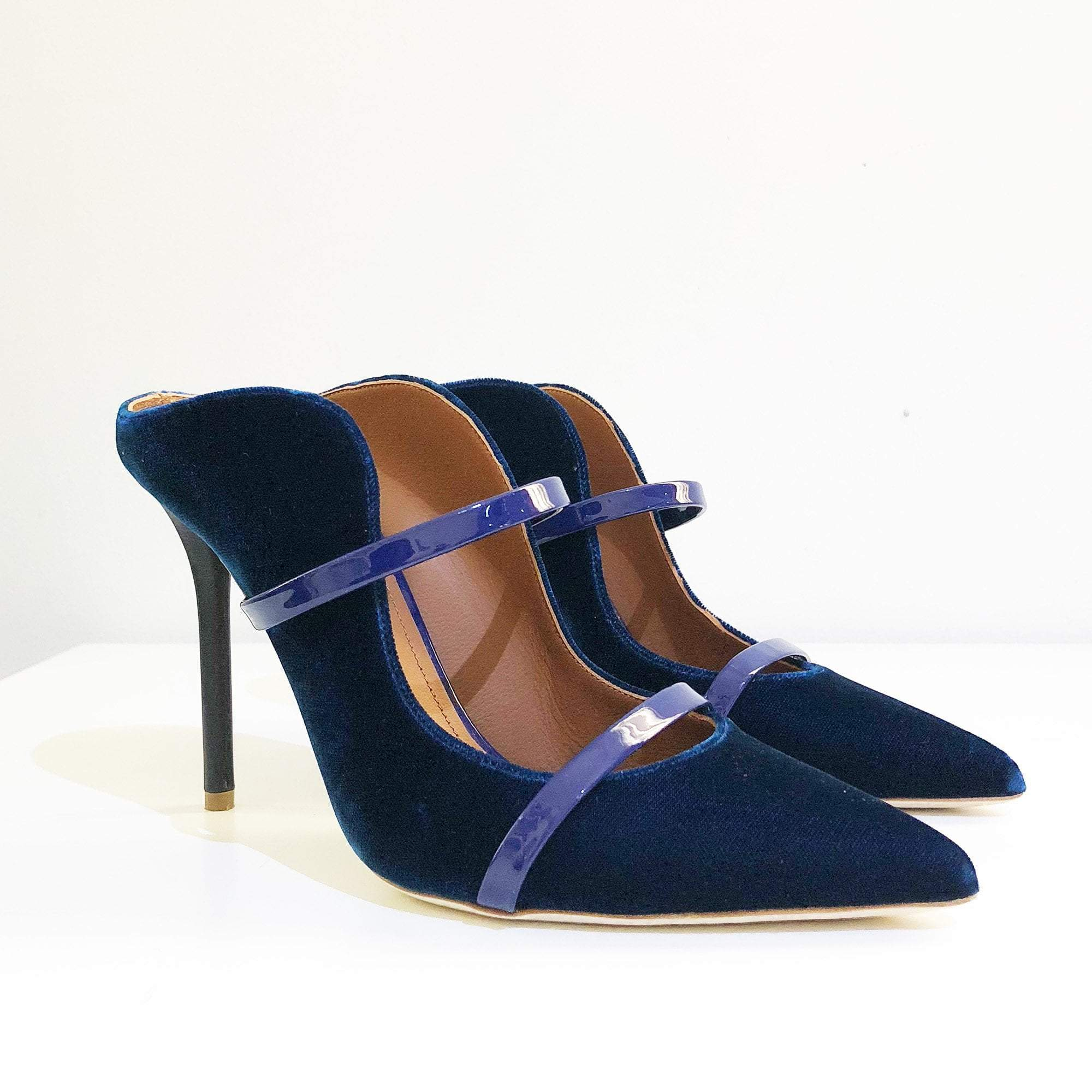 Malone Souliers Blue Velvet Classic Point Toe Maureen Mules