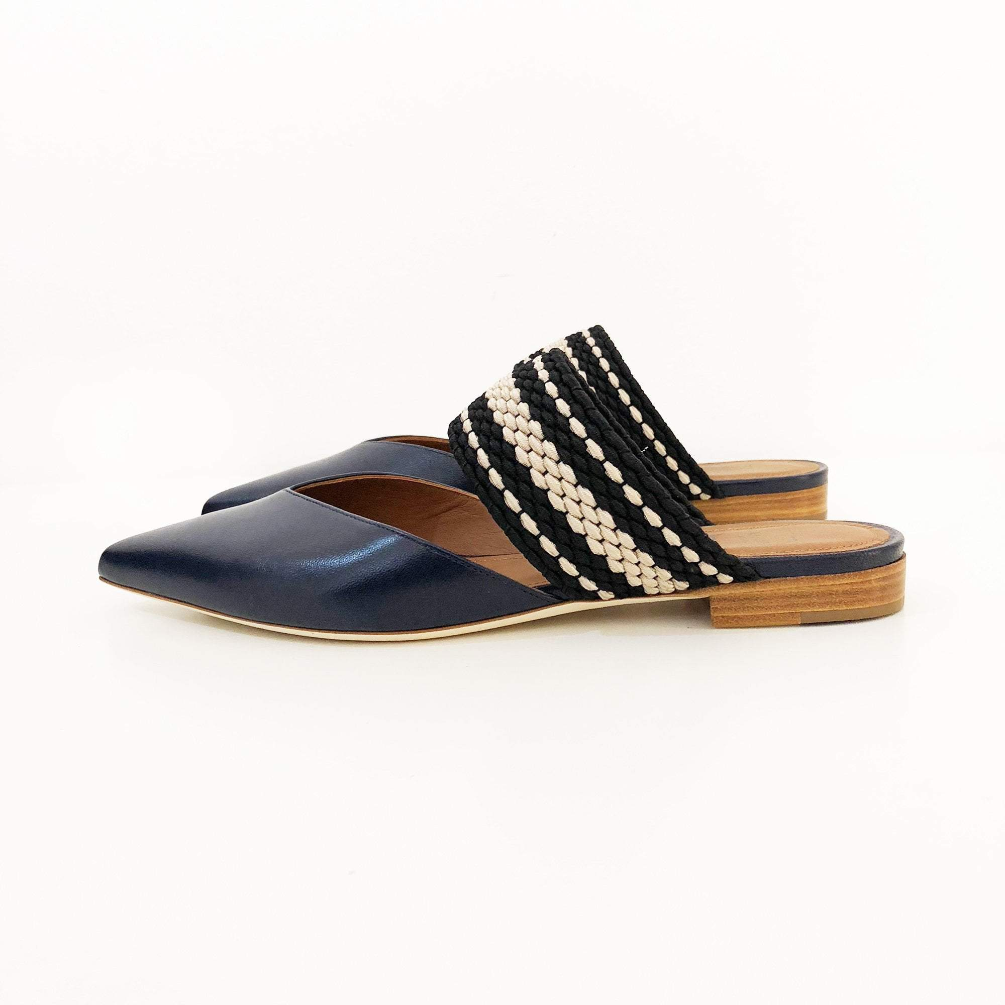 Malone Souliers Blue Flat Leather Mules