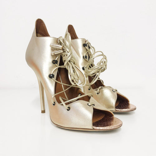 Malone Souliers Metallic Savannah Lace-up Leather Sandals