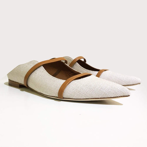 Malone Souliers Beige Maureen Backless Leather Flats