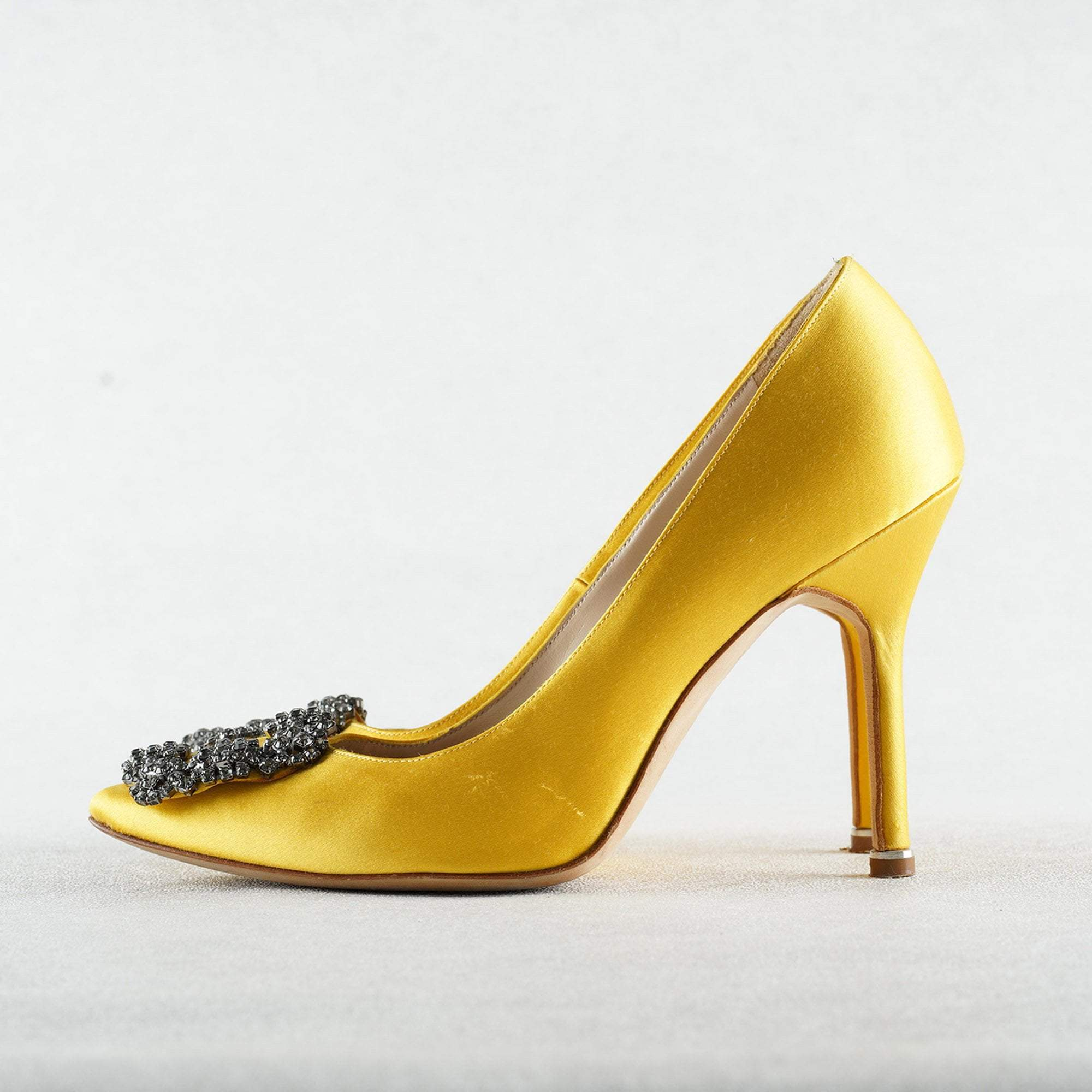 Manolo Blahnik Yellow Satin Hangisi Crystal Embellished Pumps