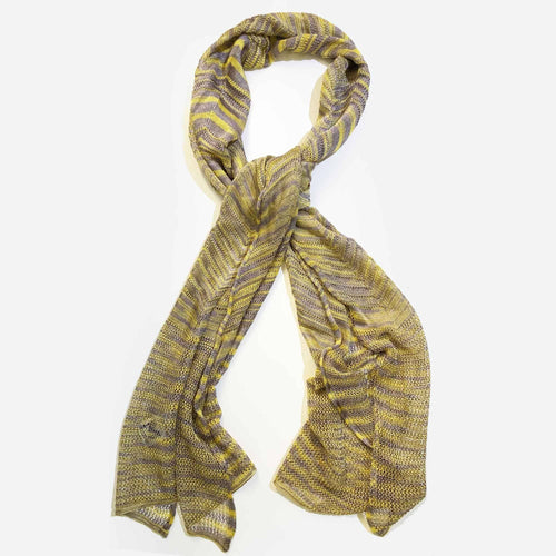 Missoni Knitted Grey and Yellow Scarf