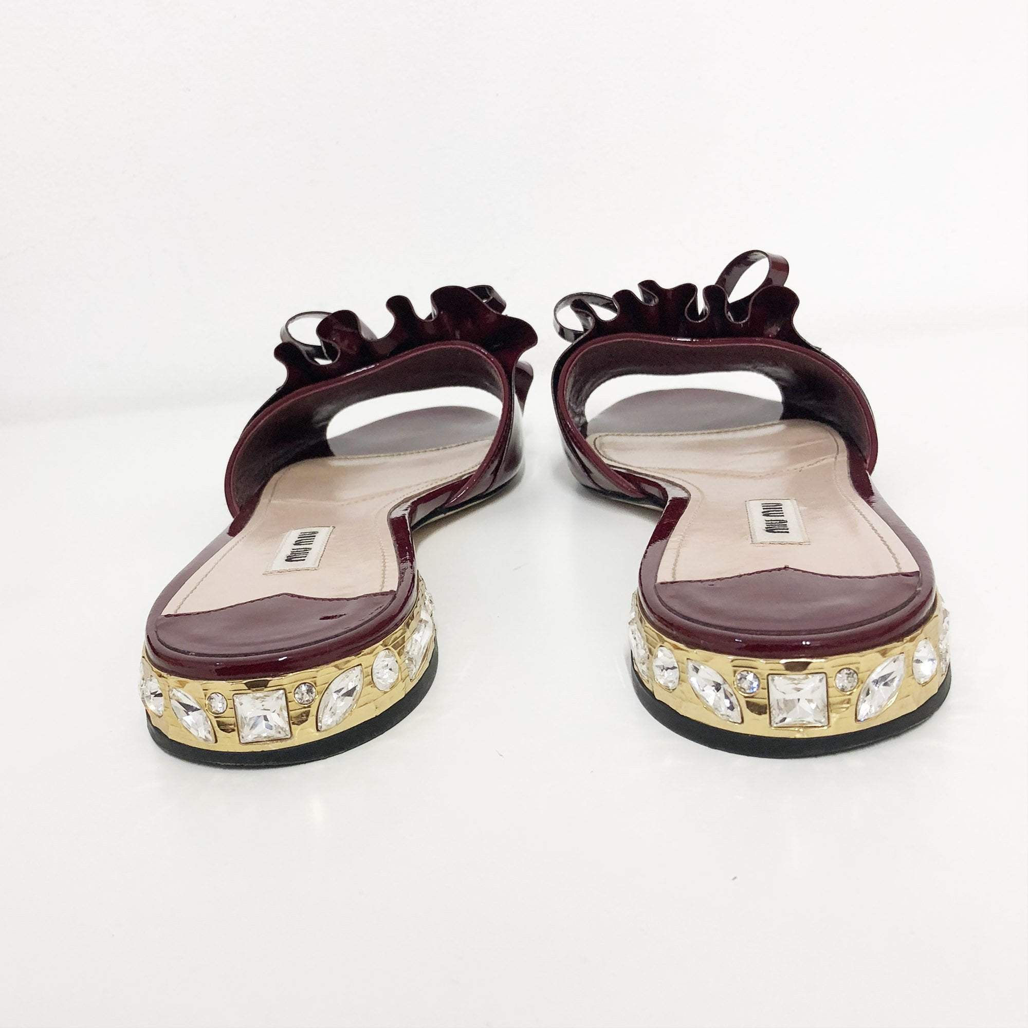 Miu Miu Burgundy Patent Leather Pleated Slippers