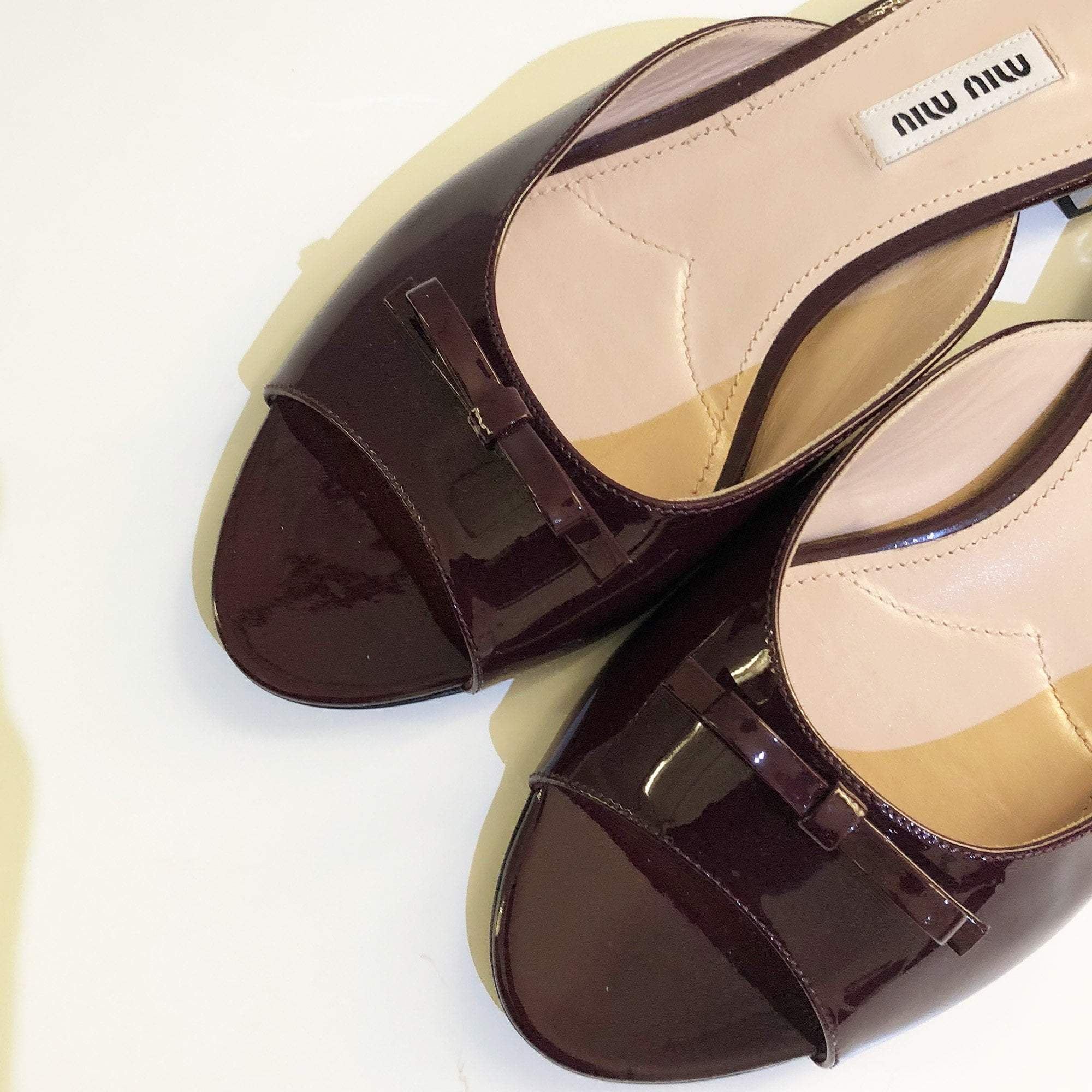 Miu Miu Burgundy Patent Leather Slip-On Sandal