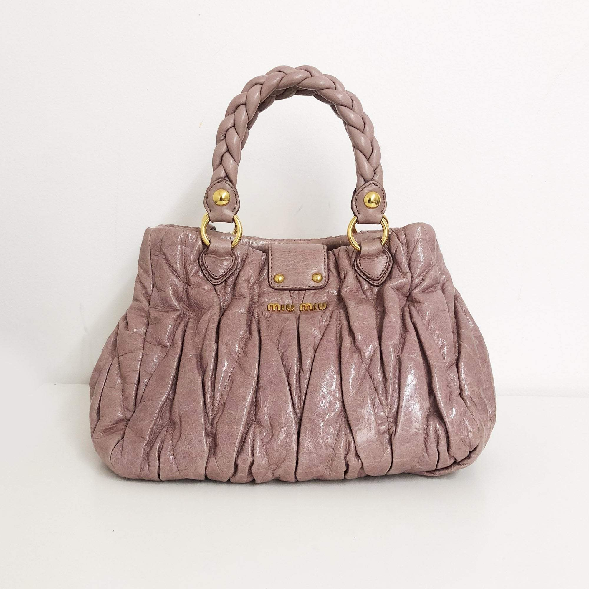 Miu Miu Dusty Pink Pleated Satchel Bag
