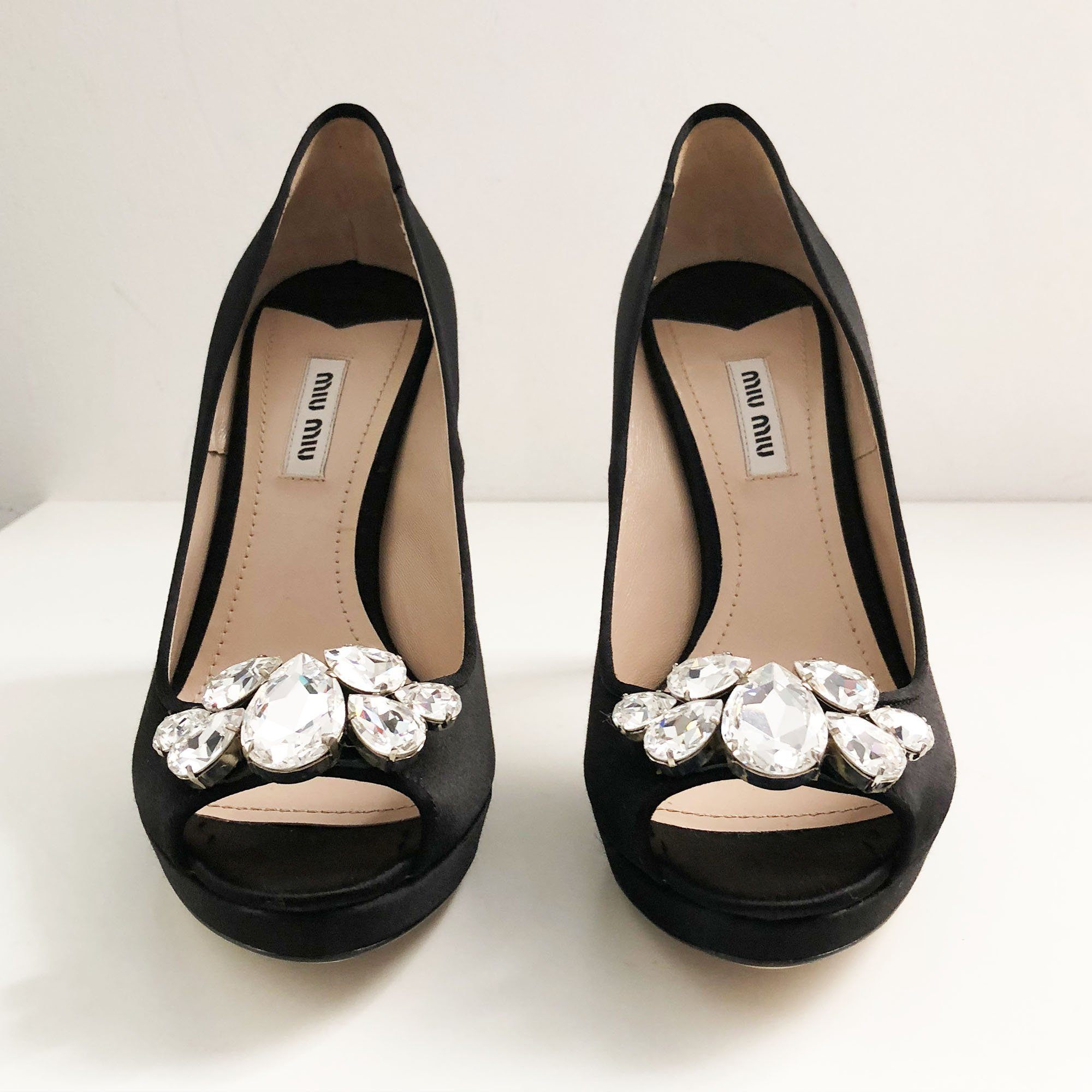 Miu Miu Jeweled Peep-Toe Satin Pumps