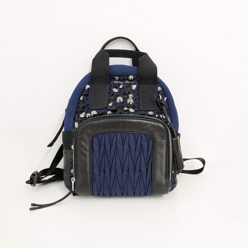Miu Miu Leather-Trimmed Embellished Backpack