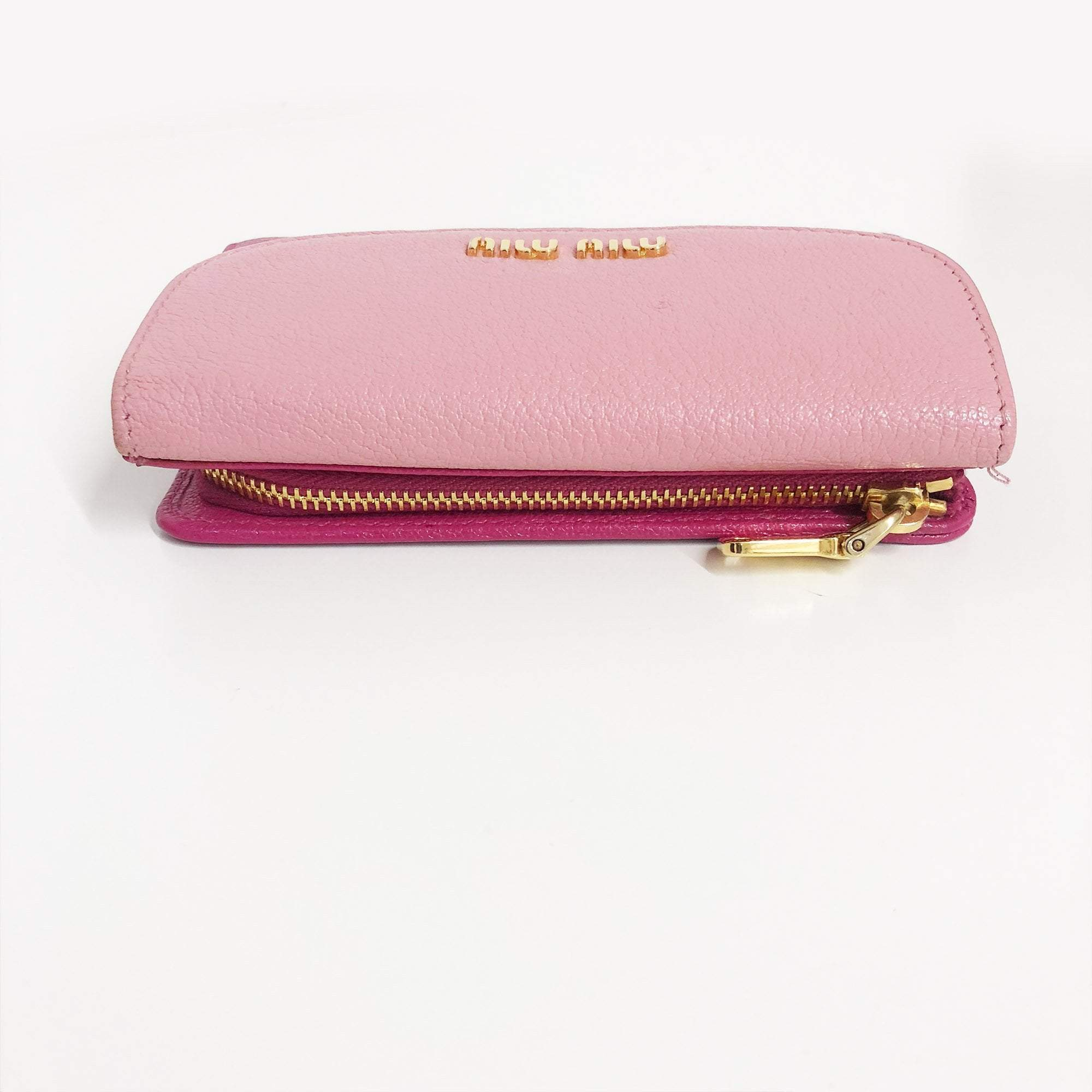 Miu Miu Pink Folded flap Zipper Wallet