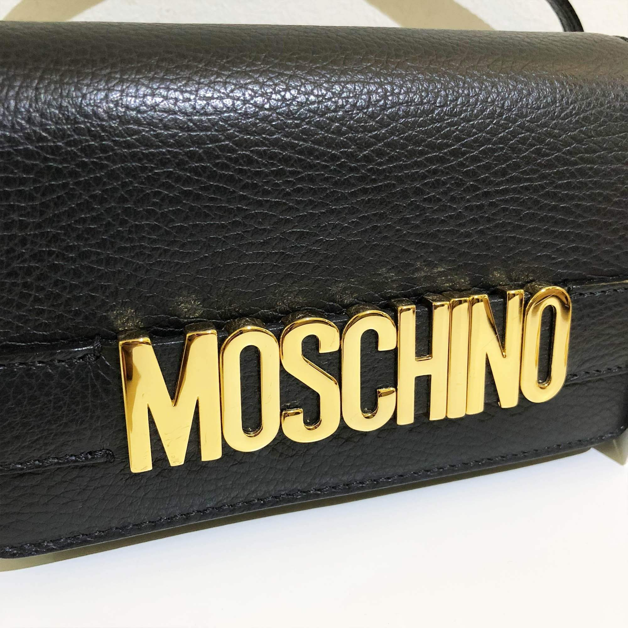 Moschino Black Small Lettering Leather Cross-Body Bag