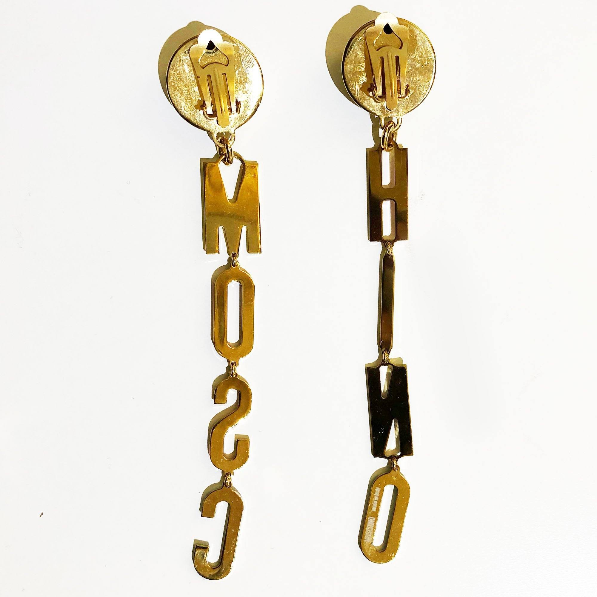Moschino Logo Letters Drop Clip-On Earrings