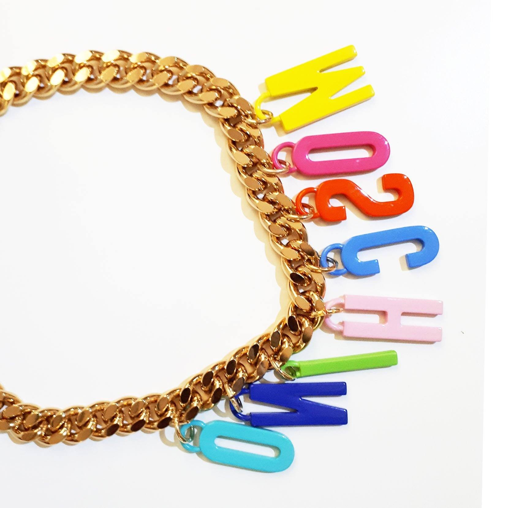 Moschino Chain Link Letter Necklace