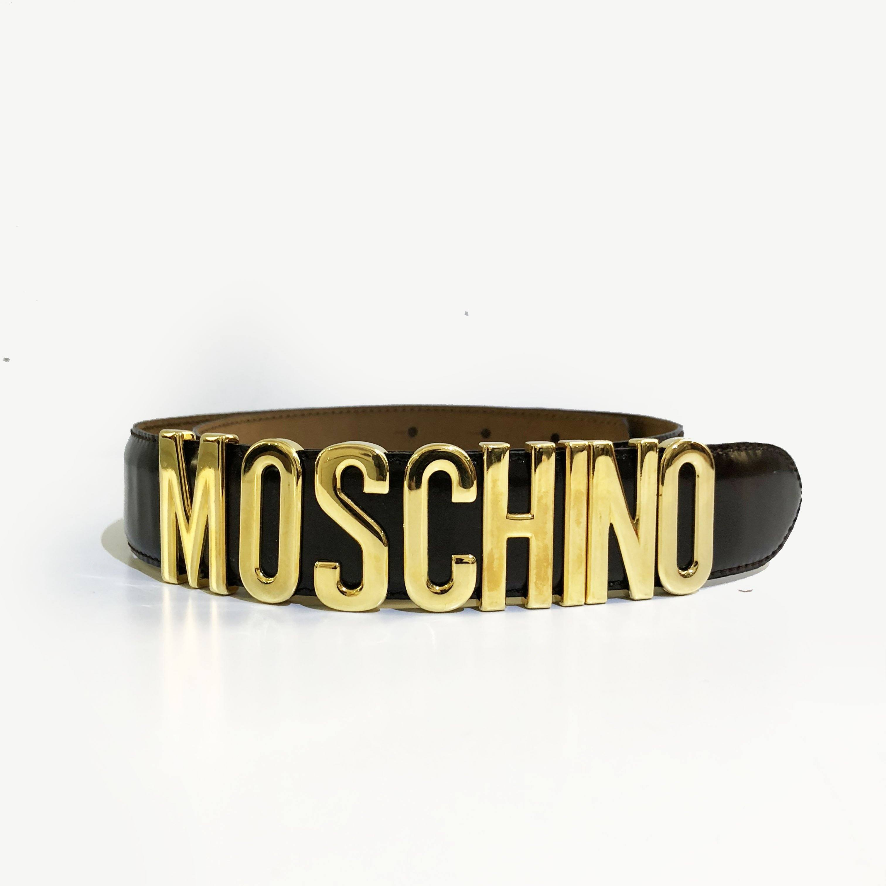 Moschino Black Logo Belt