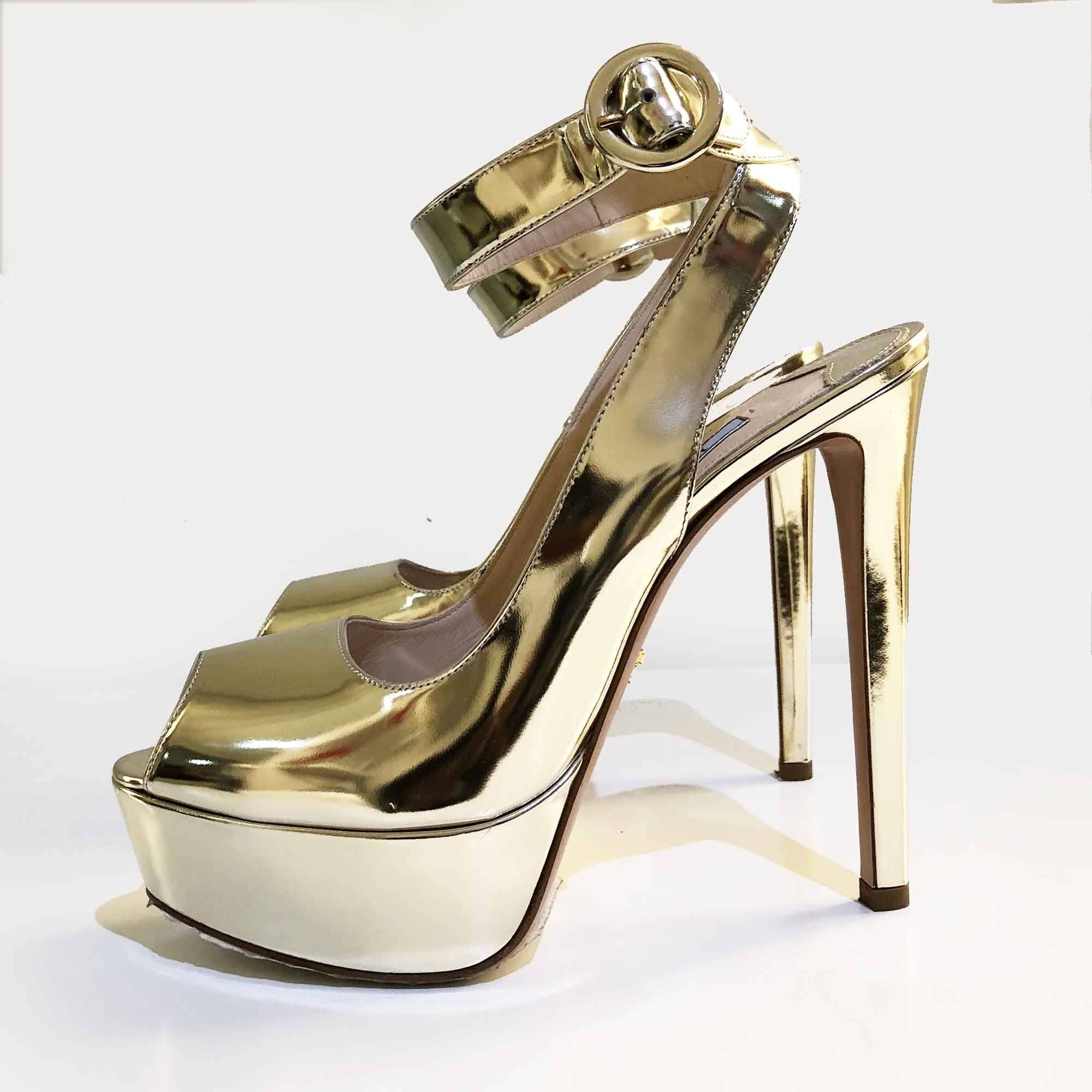 Prada Gold Metallic Leather Platform Peep Toe Platform Ankle Strap Sandals Size 38