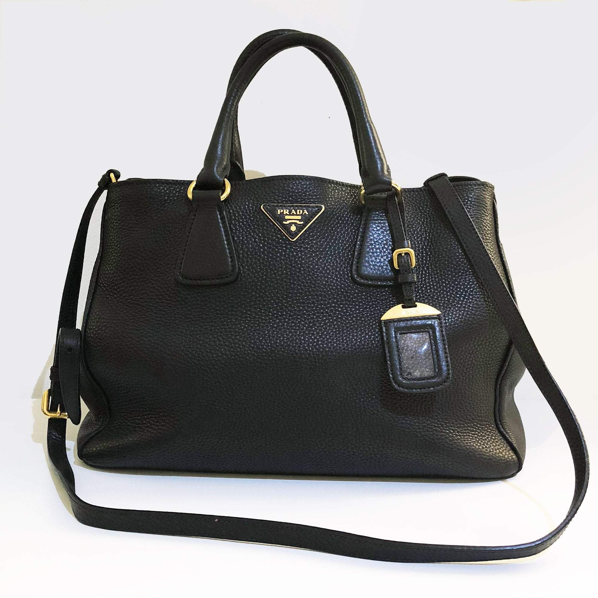 023562464d87 Prada Black Pebbled Leather Vitello Daino Tote Bag – Garderobe