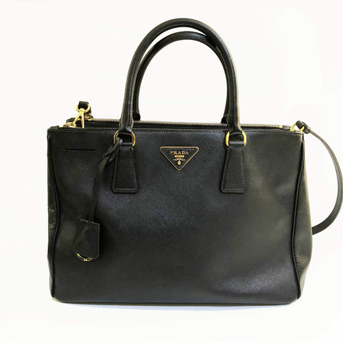 Prada Black Saffiano Lux Leather Double Zip Tote
