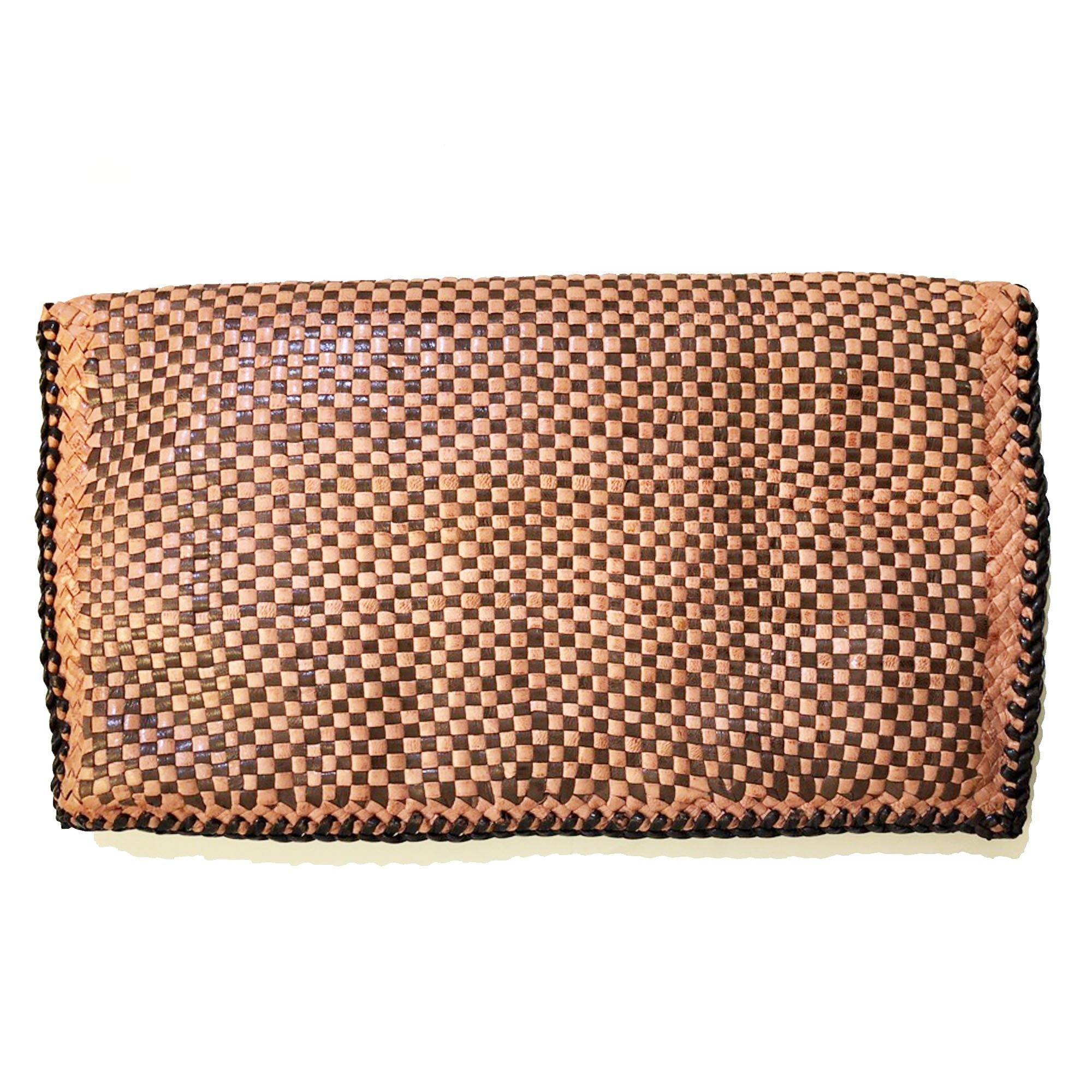 Prada Petalo/Caffe Woven Madras Goatskin Leather Clutch Bag