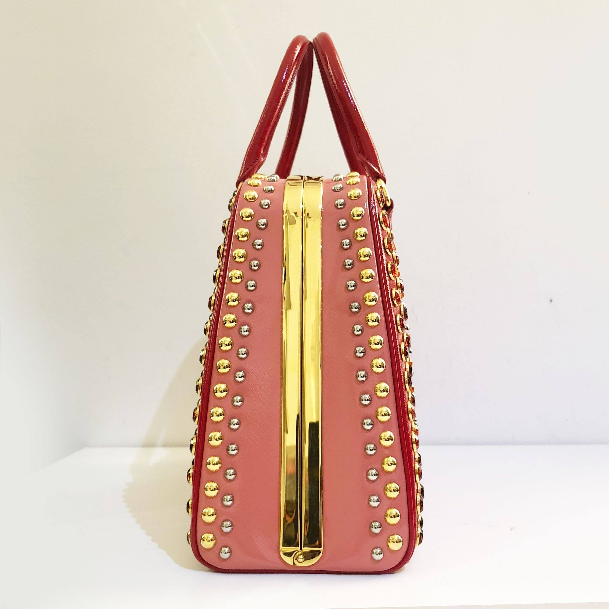 Prada Red Jewel Saffiano Vernic Pyramid Bag