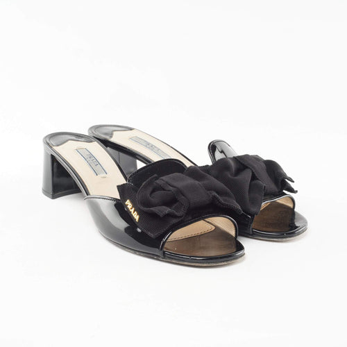 Prada Black Patent Leather Slip-On Sandal
