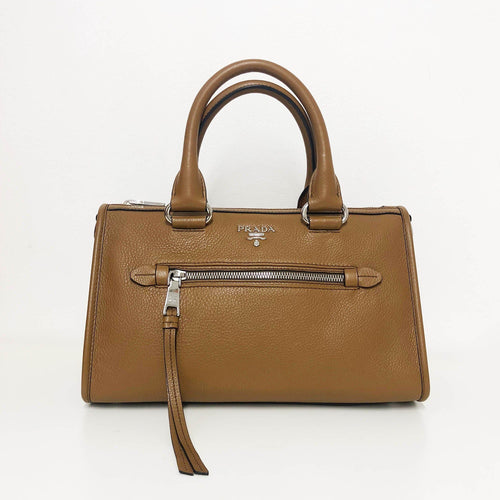 Prada Brown Leather Handbag With Long Strap