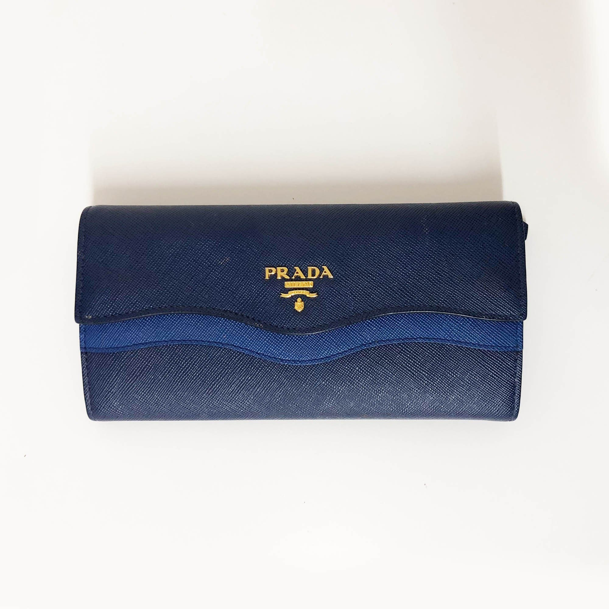 Prada Saffiano Wave Continental Flap Wallet