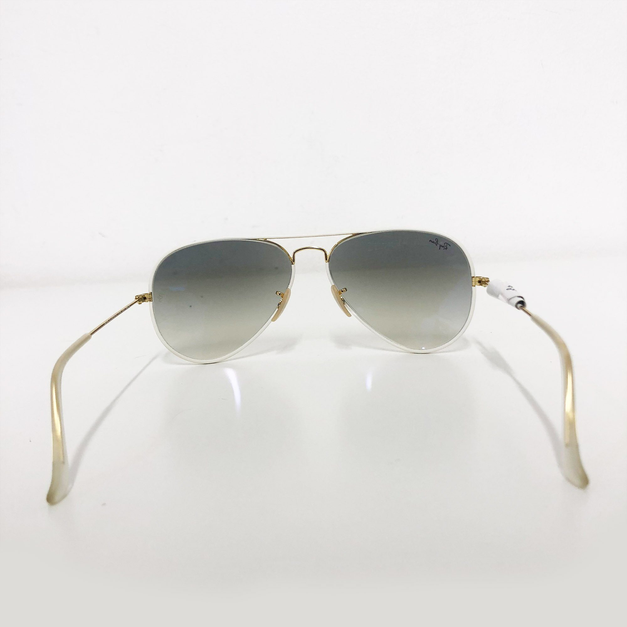Ray Ban White Framed Aviator Sunglasses