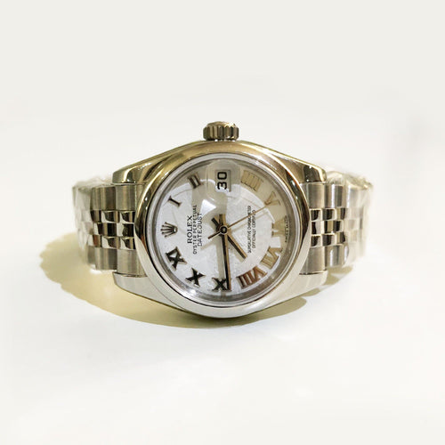 Rolex White Stainless Steel Datejust Jubilee Women's Wristwatch 25MM