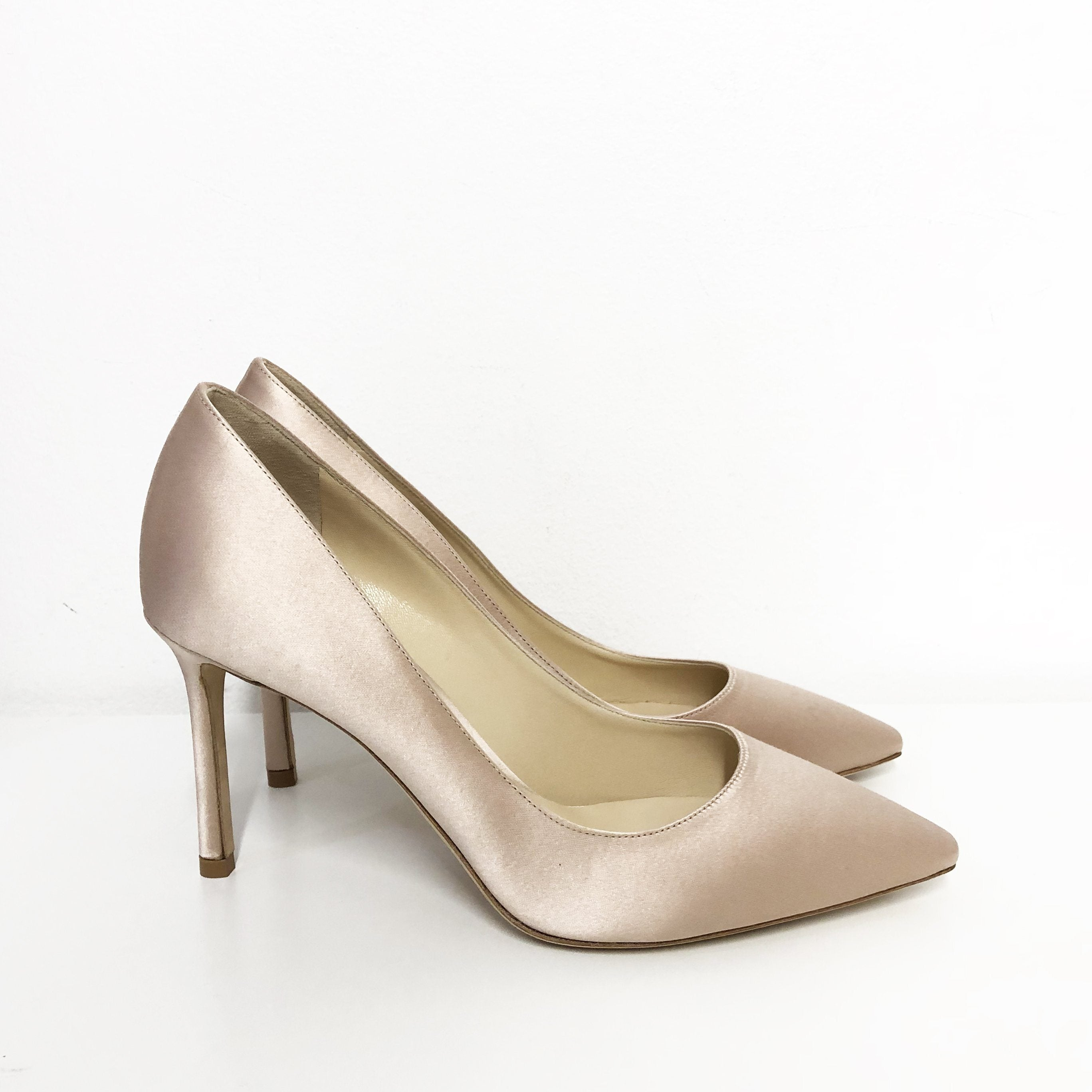 58a5a3b46edd Jimmy Choo Romy 85 Dusty Rose Satin Pointy Toe Pumps – Garderobe