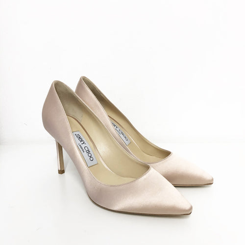 Jimmy Choo Romy 85 Dusty Rose Satin Pointy Toe Pumps